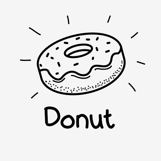 Doughnut Vector Illustration With Black And White Hand Drawn Style Doughnut Doodle Vector Doughnut Donut Food Png And Vector With Transparent Background For Ilustrasi Vektor Hitam Dan Putih Ilustrasi