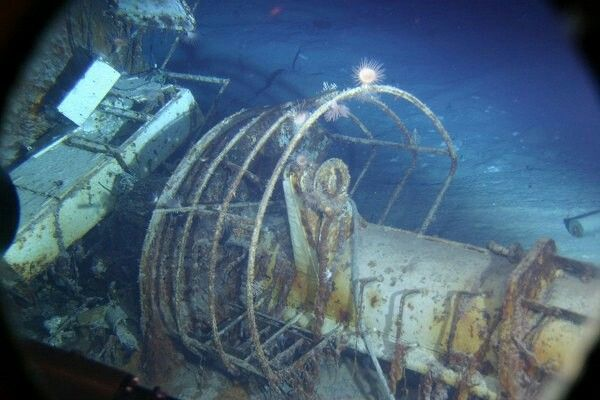 Wreck of the Bismarck -  The aft HA rangefinder station located in the debris field. The boxes by it are the ready-use ammo lockers for the 2cm guns.
