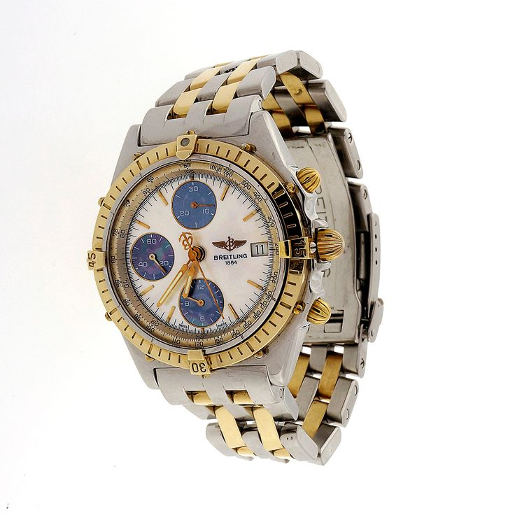 Breitling 1884 Chronograph 18k Steel Rare Yellow Blue Mother Of Pearl Dial Watch - petersuchyjewelers