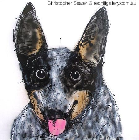 "Christopher Seater, painting of dog ""Blue"". Red Hill Gallery, Brisbane. redhillgallery.com.au"