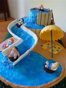water slide cake, for a pool party