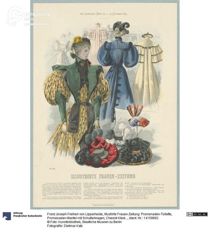 1895 Illustrirte Frauen-Zeitung: Promenaden-Toilette, Promenaden-Mantel mit Schulterkragen, Cheviot-Kleid und modische Hüte on www.europeanafashion.eu