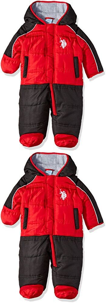 U.S. Polo Assn. Baby Boys' Heavyweight Plush Puffer Pram, Engine Red, 6-9 Months