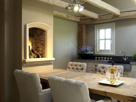 Kitchen / Dining with Fireplace - love the layout