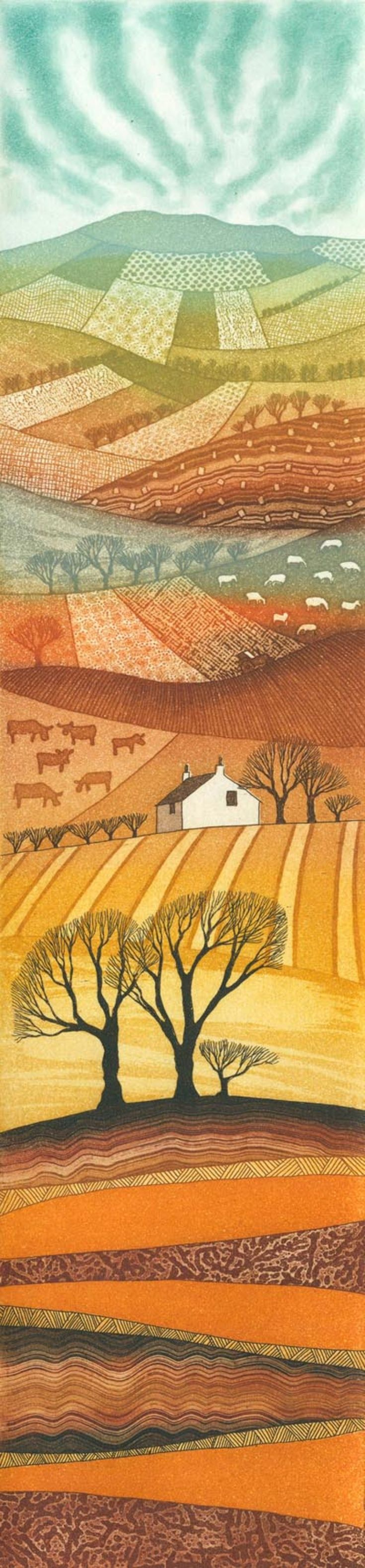 ARTFINDER: Farmer's Fields by Rebecca Vincent - This etching was created on two copper plates - tiny grooves and pits were made on each using a variety of resists and ferric chloride. Both plates are inked...