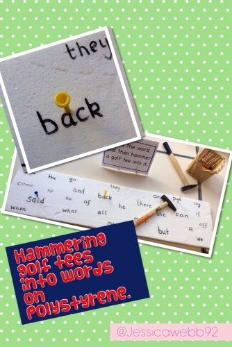 Read a high frequency word and hammer the golf tee into the word written on the polystyrene.