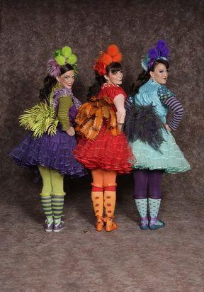 "Bird girl dress (red, purple, blue), striped undershirt, petticoat, leggings, headband, belt w/""feathers""from Seussical rental price $40.00"