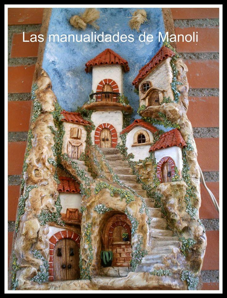 Las manualidades de Manoli: Teja paisaje pueblo