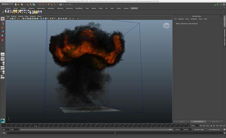 Toma de pantala - Simulación Explosiones - Autodesk Maya