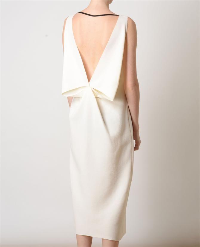 Folded Elegance - white dress back detail; origami fashion accents // Roksanda Ilincic