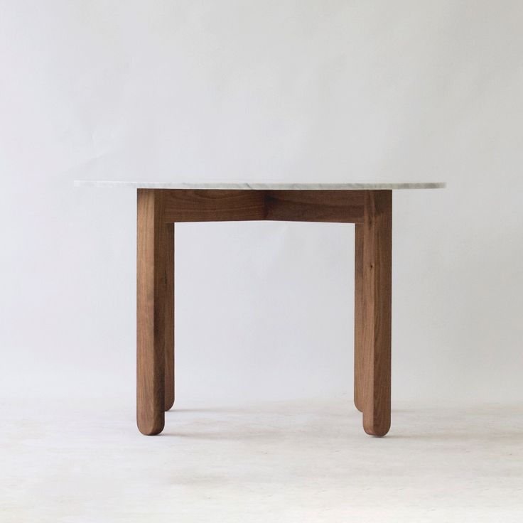 Round Stir Parsons table in Walnut with a Carrara marble top | modern dining table | dining room decor