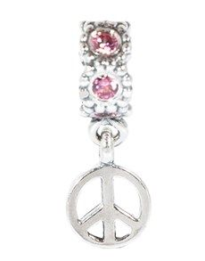 Pandora: Peace Sign Silver Dangle with  fancy!