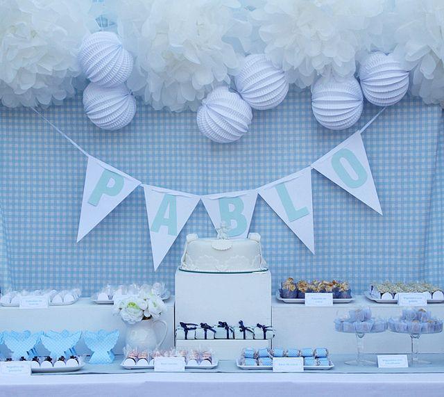 Bautizo azul y blanco