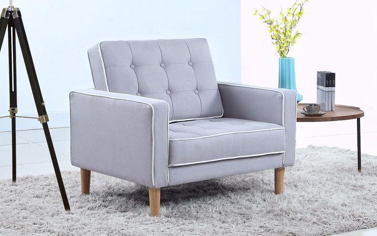 Furniture Mania Mid Century Modern Fabric Living Room Armchair
