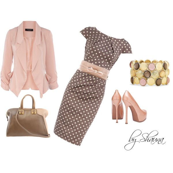 I love this look! Every single piece!: Shoes, Pink Dots, Polka Dots, Colors, Pale Pink, Blazers, Work Outfits, Pinka Dots, The Dresses