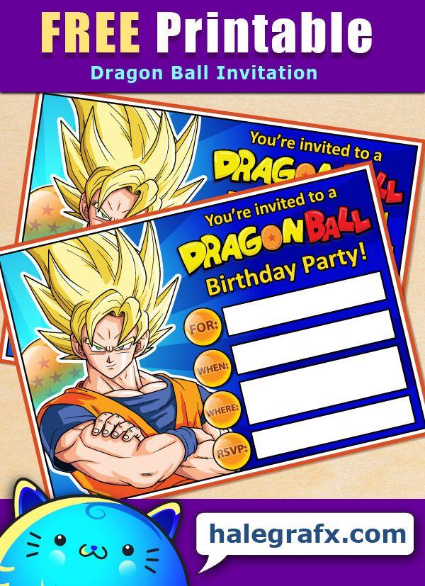 FREE Printable Dragon Ball Birthday Invitation