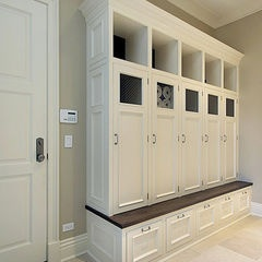 Individualized Wooden storage with doors~ great for entryway or laundryroom- I'm thinking garage