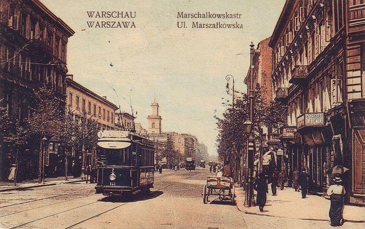 Marszałkowska sto lat temu.  Źródło: fotopolska.eu