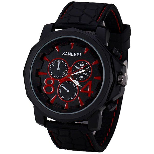 Popular Quartz Wrist Watch with Analog Display Silicone Watchband for Men