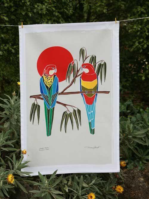 Australian Certified Organic Australian Birds tea towel - Eastern Rosella #certifiedorganic #teatowel #birdsofaustralia #organiccotton #kitchentextiles #blackcockatoo #easternrosella #ganggangcockatoo #kingparrot #galah #regentparrot #parrot #rosella