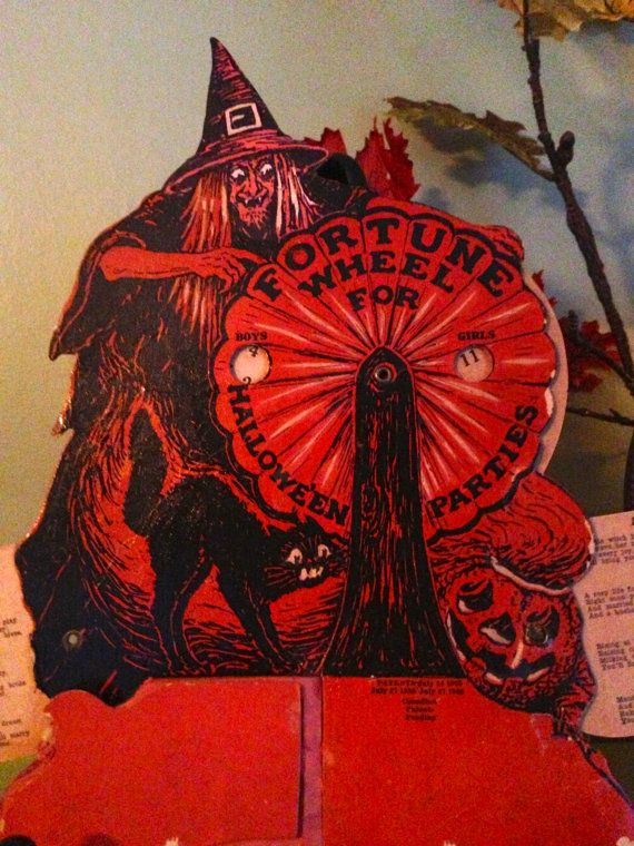 rare antique vintage halloween beistle witch fortune wheel for halloween parties 1920s collectible game - Antique Halloween Decorations