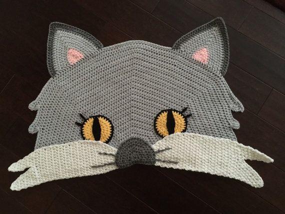 Crochet Cat Rug by PeanutButterDynamite on Etsy