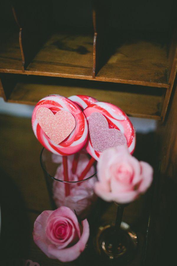 glitter heart candy favours