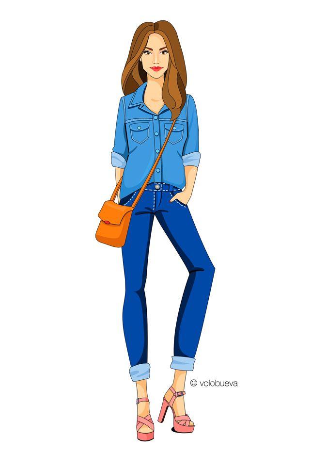 fashion illustration, total denim look