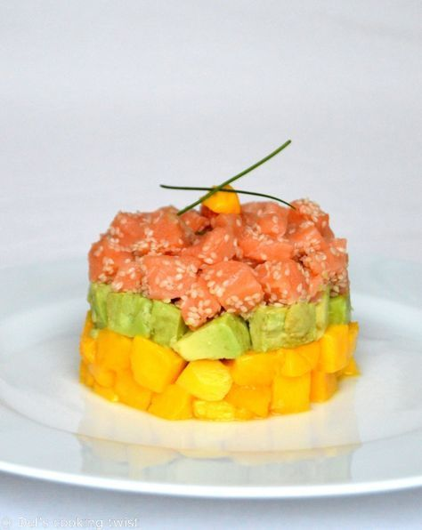 Tartare de saumon, avocat et mangue | Del's cooking twist