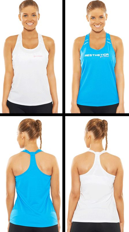 Premium Women's Singlet - Blue & White. Strong, Sexy yet Fashionable Gym wear!