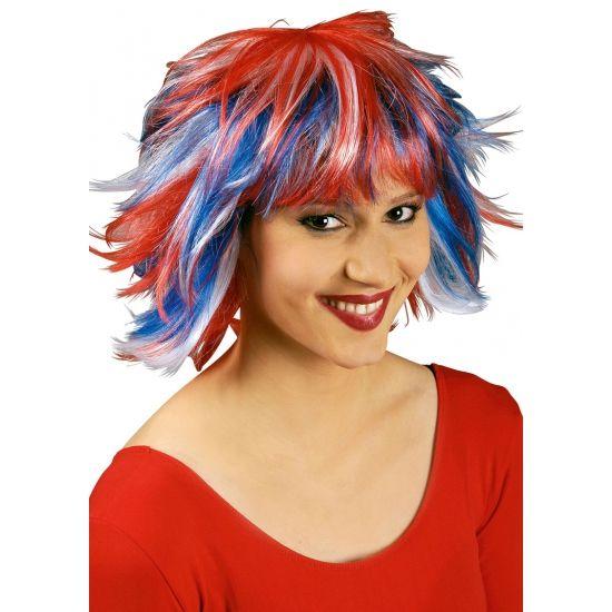 Gekleurde Pixie pruik rood wit en blauw  Rood wit en blauw Pixie pruik. Pruik met rood wit en blauw accenten. Wilde korte coupe met pony.  EUR 9.95  Meer informatie