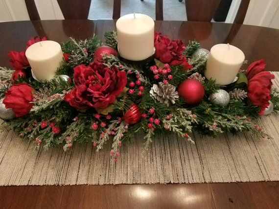Xl Christmas Centerpiece For Table Holiday Centerpiece Elegant Arrangement 3 P Christmas Centerpieces Diy Christmas Centerpieces Christmas Table Decorations