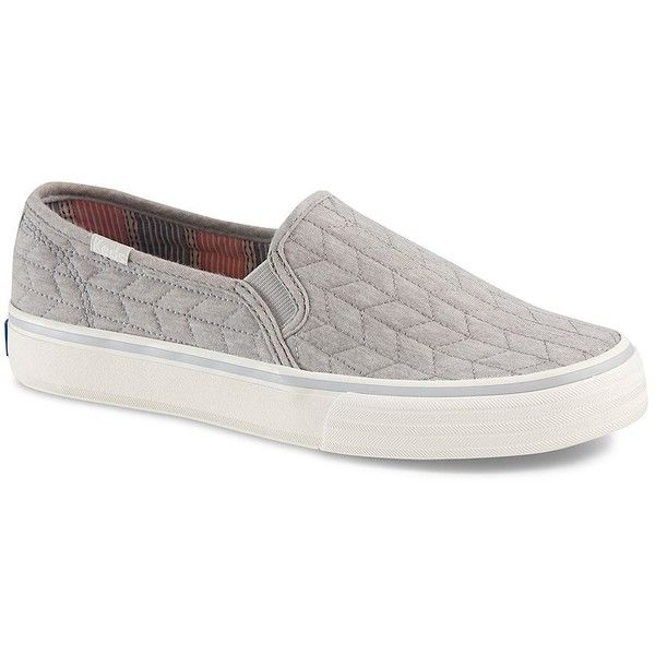 Keds Double Decker Quilted Slip-On Sneakers ($55) ❤ liked on Polyvore featuring shoes, sneakers, grey, keds sneakers, slipon shoes, chevron shoes, grey sneakers and grey slip on sneakers