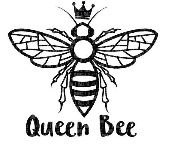 Queen Bee Png Dxf Jpg Jpeg Silhouette Files Cricut Files Svg Files Dxf Files Png Files Jpg Bee Outline Queen Bees Art Queen Bee Tattoo