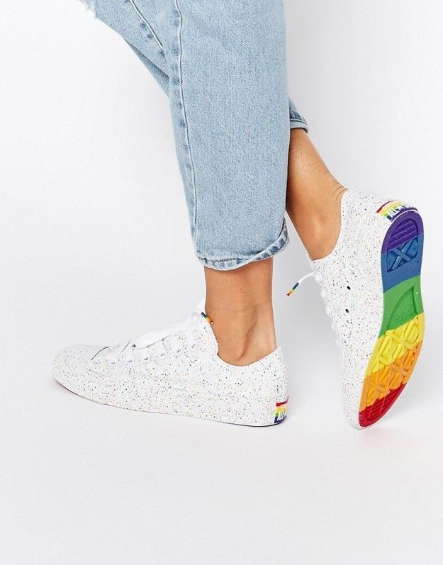 Color-flecked and rainbow-soled sneakers.
