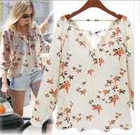 blusas damas elegantes femininas 2014 estampado floral blusa v- cuello informal camisetas vintage blusas de gasa mujeres