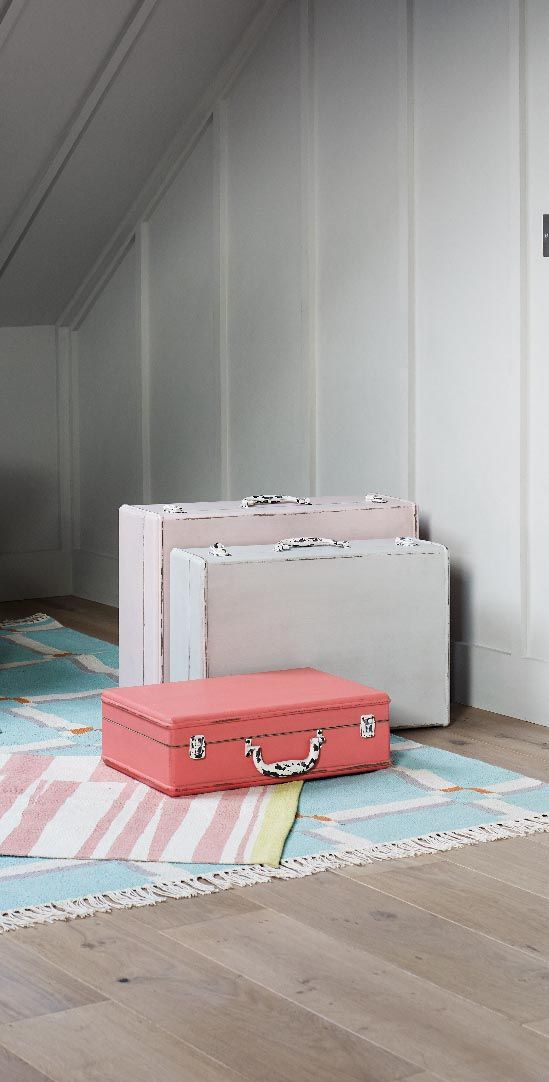 There aren't many storage boxes that command as much attention as our unique wooden suitcases in a vintage style with a distressed, paint finish.