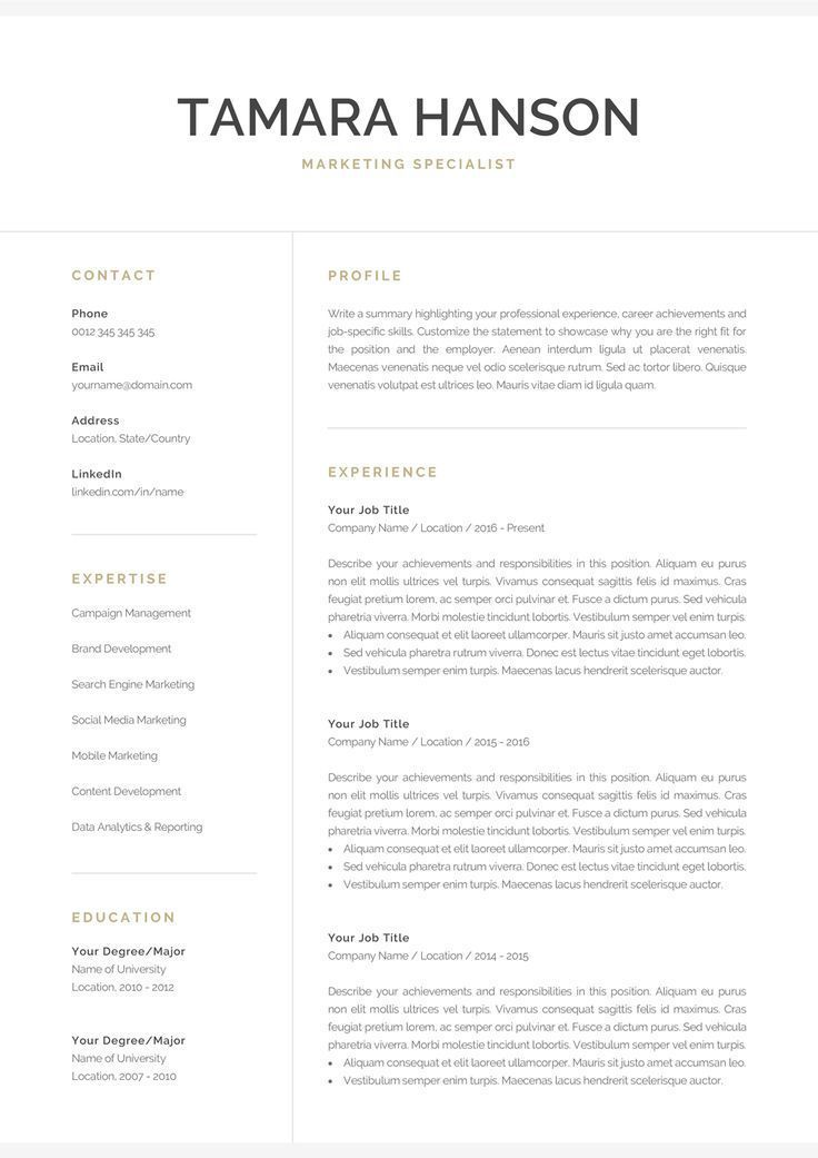 Resume Template with Matching Cover Letter and References Page