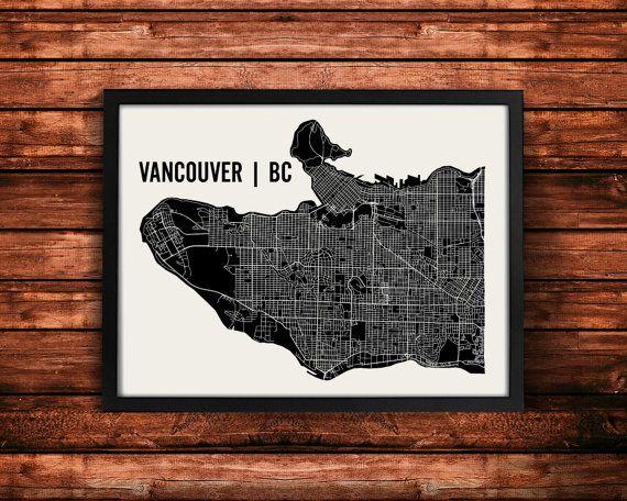 Vancouver Map Art Print  Vancouver Print  Vancouver Art