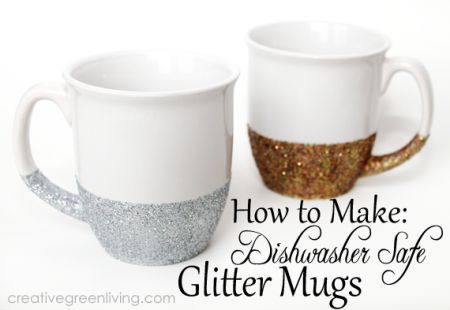 Dishwasher safe glitter mugs