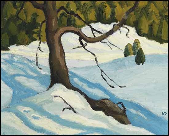 """Winter,"" Edwin Headley Holgate, 1953, oil on board, 8.5 x 10.5"", private collection."