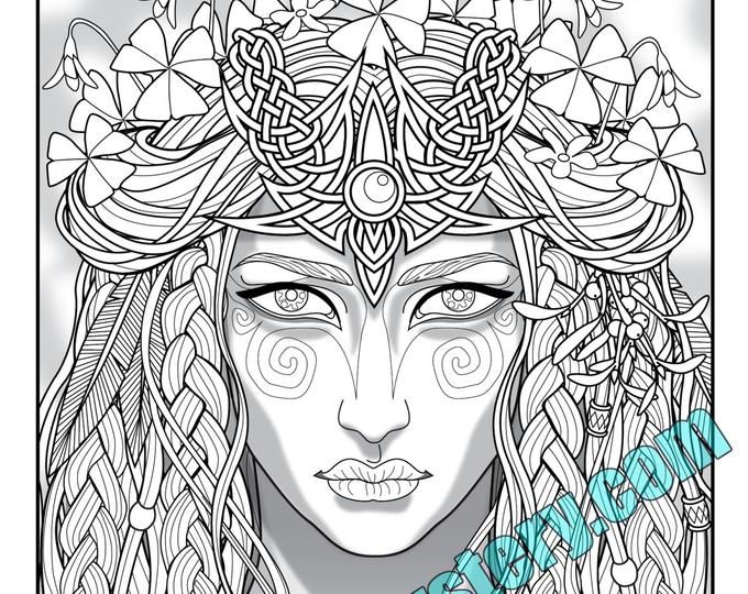 Single Coloring Page Fey Enchantress From The Magical Etsy Coloring Pages Detailed Coloring Pages Pattern Coloring Pages