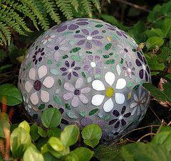 flowerballweb (chickeemama) Tags: flower mosaic orb stainedglass bowlingball gazingball