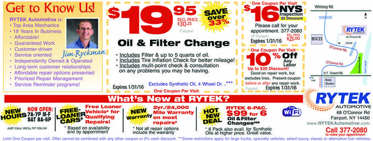 Rytek Automotive offers savings on oil changes and car