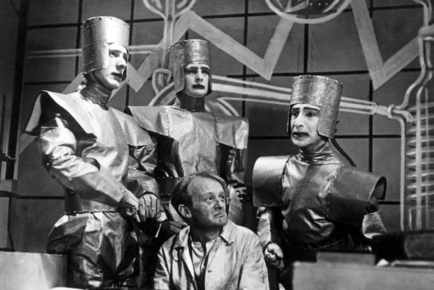 """A scene from a 1938 TV production of """"R.U.R."""", or """"Rossum's Universal Robots,"""" the play which introduced the term """"robot"""" into many of the world's languages. BBC/Corbis:"""