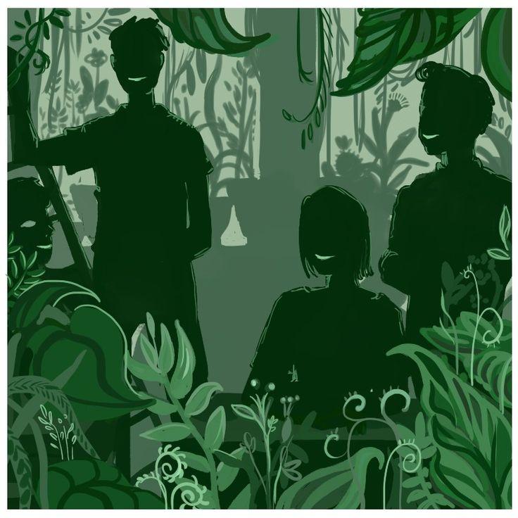 """"""" Ральф вошел — и под ногами зашуршали семена. В сумраке зеленых кущ за столами сидели Птицы и улыбались. Окна затеняли мясистые листья и стебли всевозможных растений. Пахло влажной землей."""" by Скучные рисунки"""