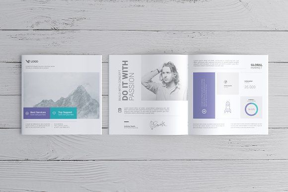 Square Brochure / Catalog Mock-Up by ToaSin Studio on @creativemarket