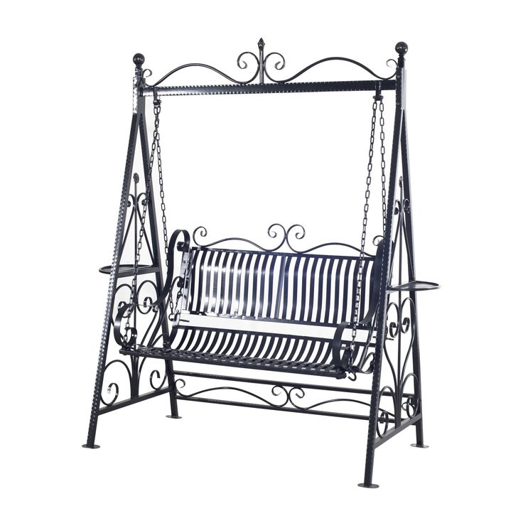 Outsunny Garden Metal Swing Chair Outdoor Patio Hammock Bench Cast Iron  Swinging Seat Vintage Style Shabby