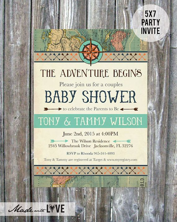 Vintage Map Couples Baby Shower Invitation by madewithlovebyalesha