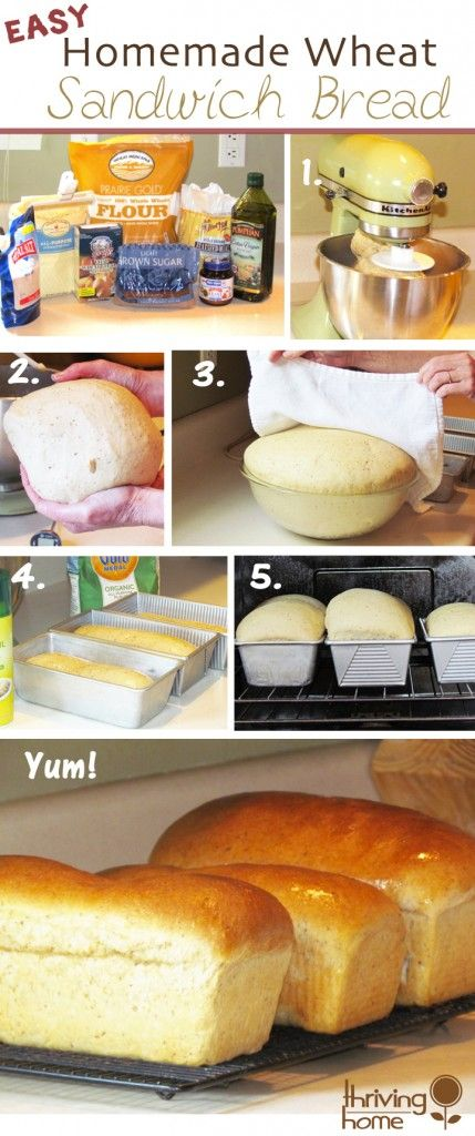 Give your family a little homemade goodness! Detailed, step-by-step pictorial guide to making the best Homemade Wheat Sandwich Bread ever.  #wheatbread